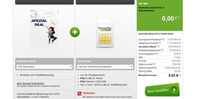 klarmobil mit 1GB und Allnet Flat im Telekom Netz nur 8,85€