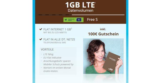 o2 Free S mit 1GB LTE und 100€ Gutschein