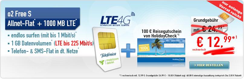 o2 Free S + 1 GB LTE +100€ Gutschein nur 12,99€ mtl.