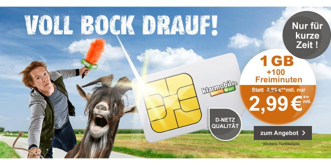 1GB im D-Netz mit 100 Minuten nur 2,99€ mtl.