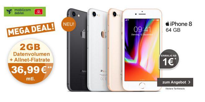 Apple iPhone 8 mit 2GB und Allnet nur 36,99€ mtl.