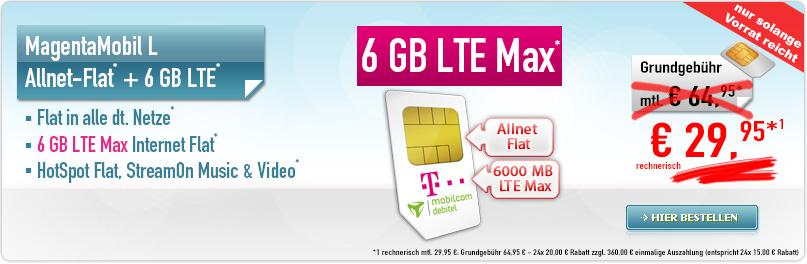 Telekom MagentaMobil L 6 GB nur 29,95€ mtl.