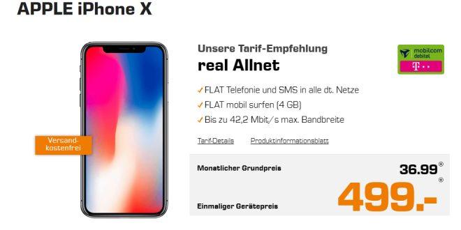 APPLE iPhone X mit 4GB Telekom Allnet 36,99€ mtl.