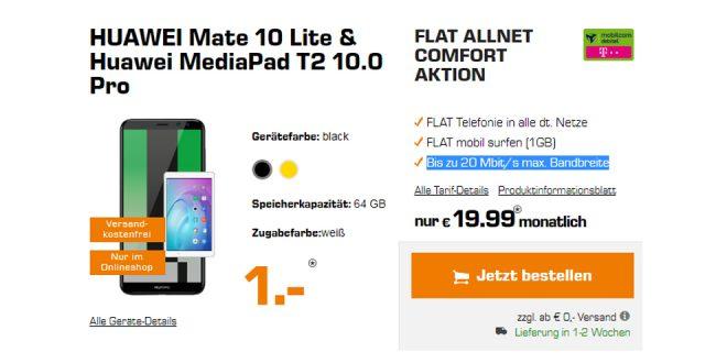 Mate 10 Lite & MediaPad T2 10.0 Pro nur 19,99€ mtl.
