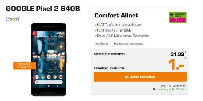 GOOGLE Pixel 2 mit 2GB Allnet nur 31,99€ mtl.