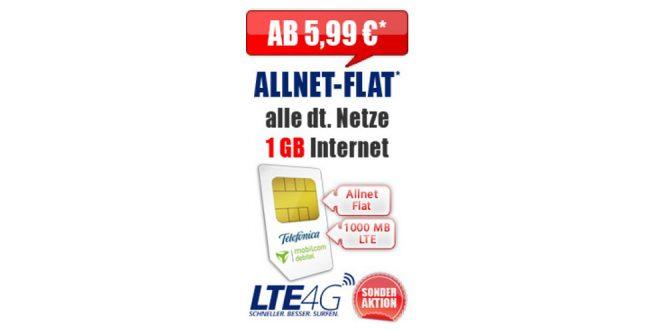 1 GB LTE mit Allnet Flat ab 5,99€ mtl.