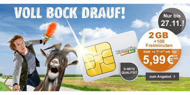 Smart Flat mit 2GB und 100 Min. Telekom nur 5,99€ mtl.