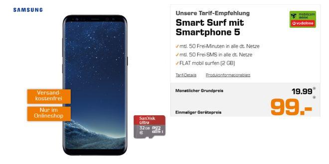 Galaxy S8+ mit 2GB Internet nur 19,99€ mtl.