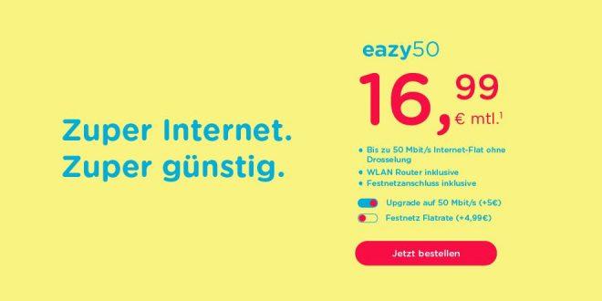 Zuhause: 50 Mbit/s Internet-Flat nur 16,99€ mtl.