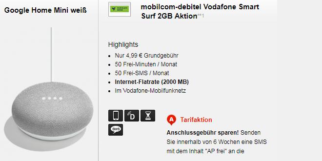 2 GB mit 50 Minuten und Google Home Mini nur 4,99€ mtl.