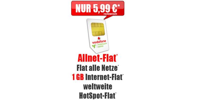 Allnet-Flat mit 1GB im Vodafone Netz nur 5,99€ mtl.