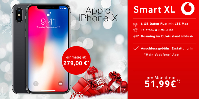iPhone X mit 6 GB LTE Allnet nur 51,99€ mtl.