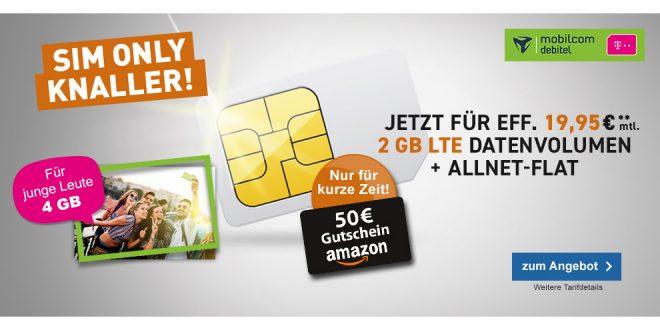 2 GB LTE Telekom mit Allnet Flat nur 19,95€ mtl.
