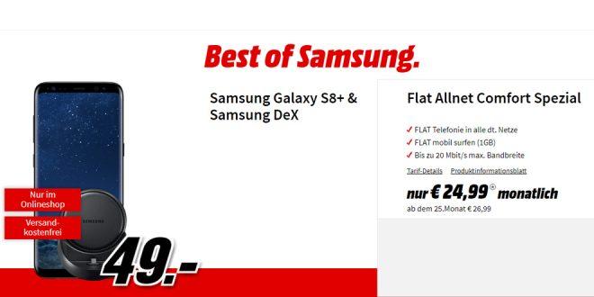 Galaxy S8+ & Samsung DeX mit Allnet nur 24,99€ mtl.