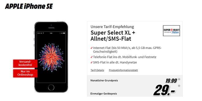 APPLE iPhone SE mit 5,5 GB LTE und Allnet nur 19,99€ mtl.