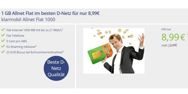 1GB Allnet Flat im besten D-Netz für nur 8,99€ mtl.