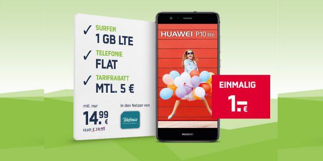 HUAWEI P10 LITE mit 1GB Allnet nur 14,99€ mtl.