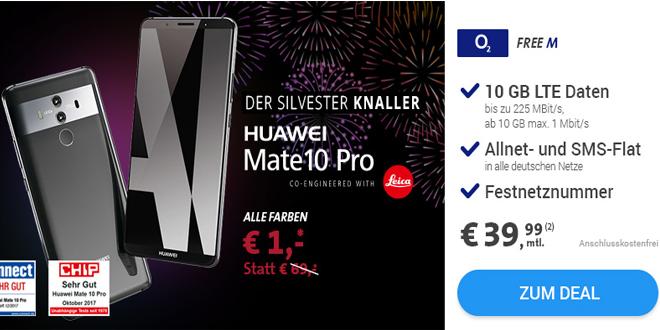 HUAWEI MATE 10 Pro mit 10 GB LTE und Allnet nur 39,99€ mtl.