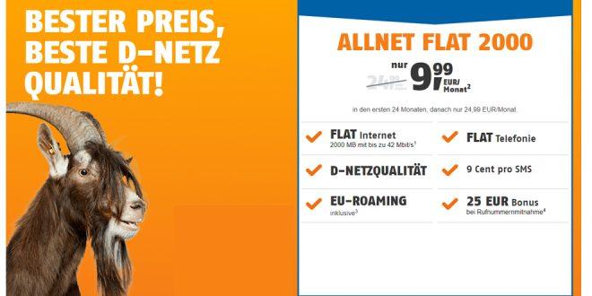 2 GB Internet mit Allnet im Telekom Netz nur 9,99€ mtl.