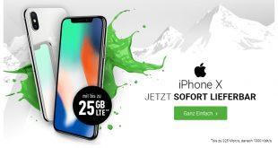 iPhone X mit 20 GB LTE Allnet nur 59,99€ mtl.