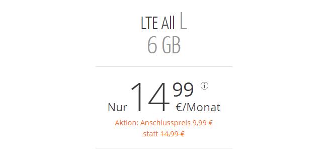 6 GB LTE mit Allnet nur 14,99€ mtl.