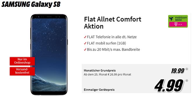 Galaxy S8 mit Allnet im Telekom Netz nur 19,99€ mtl.