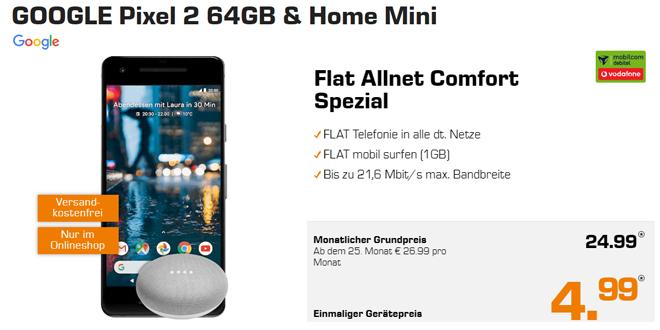 Pixel 2 & Home Mini mit Allnet und 1GB nur 24,99€ mtl.