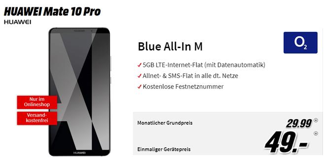 HUAWEI Mate 10 Pro mit 5 GB LTE und Allnet nur 29,99€ mtl.