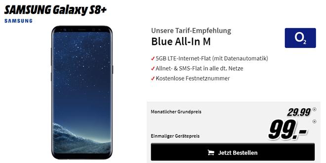 Galaxy S8+ mit 5 GB LTE und Allnet nur 29,99€ mtl.