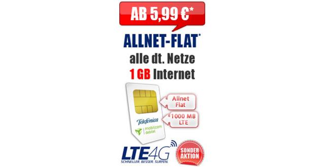 Allnet Flat mit 1 GB LTE nur 5,99€ mtl.