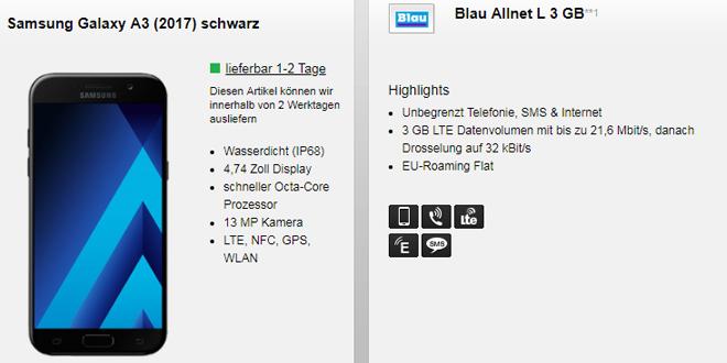 Nur 14,99 Euro monatlich: Samsung Galaxy A3 + 3 GB LTE