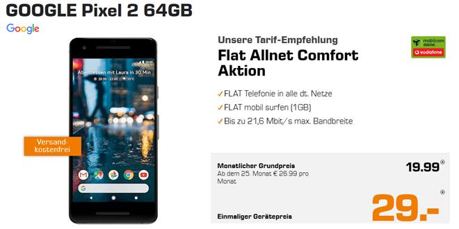 GOOGLE Pixel 2 mit Allnet und 1GB Internet nur 19,99€ mtl.