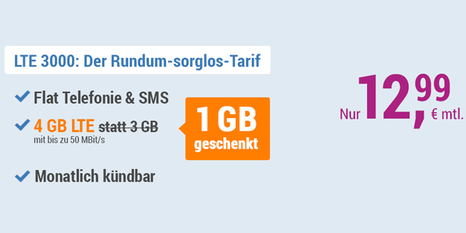 4 GB LTE Allnet und EU - monatlich kündbar - nur 12,99€ mtl.