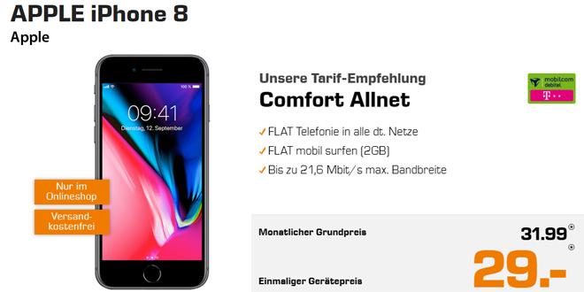 iPhone 8 mit 2 GB Internet und Allnet Telekom nur 31,99€ mtl.