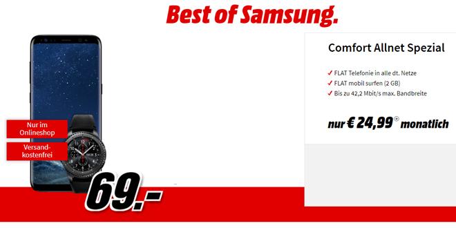 Galaxy S8 & Gear S3 mit 2GB Internet und Allnet nur 24,99€ mtl.