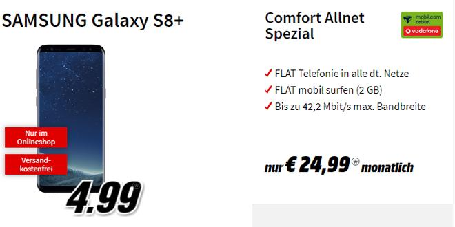 Galaxy S8+ mit 2 GB Internet und Allnet nur 24,99€ mtl.