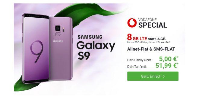 Galaxy S9 mit 8 GB LTE Allnet nur 51,99€ mtl.