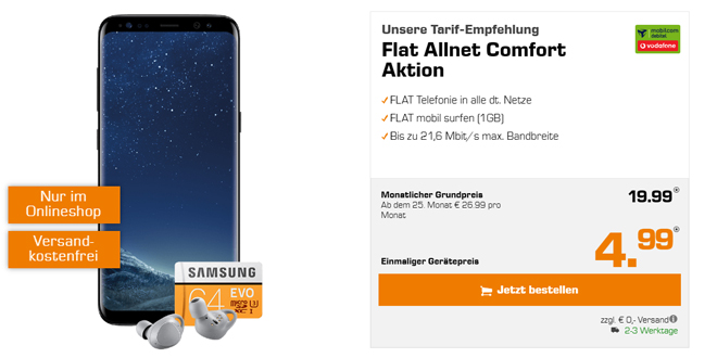 Galaxy S8 & Gear IconX 2018 & microSDXC 64GB nur 19,99€ mtl.