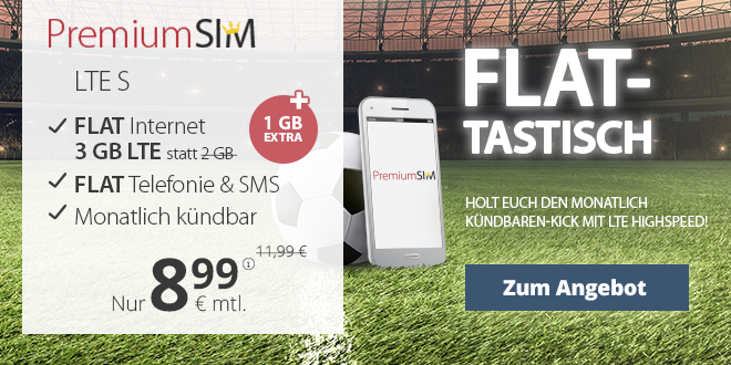3GB LTE + Allnet + EU + monatlich kündbar nur 8,99€ mtl.