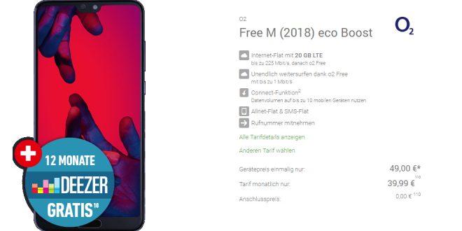 Huawei P20 Pro mit 20 GB LTE nur 39,99€ mtl.