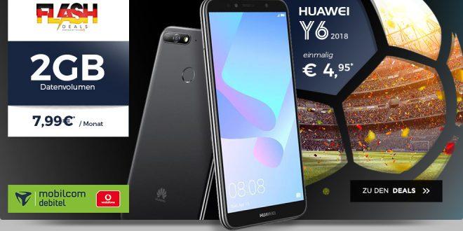 Huawei Y6 (2018) mit 2 GB Allnet nur 7,99€ mtl.