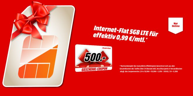5 GB LTE mit 500€ Coupon nur 19,99€ mtl.