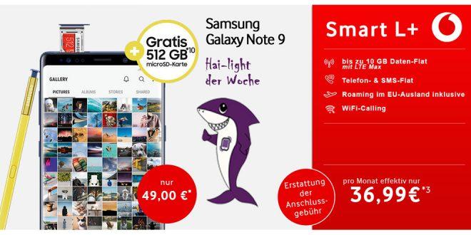 Galaxy Note 9 mit 5 GB LTE nur 36,99€ mtl.