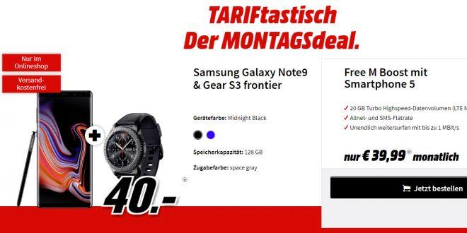 Galaxy Note9 & Gear S3 mit 20 GB LTE nur 39,99€