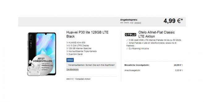 Huawei P30 lite + 5GB LTE nur 24,99€