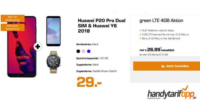 P20 Pro & Y6 2018 & Watch GT mit 4 GB LTE nur 26,99€
