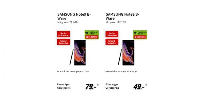SAMSUNG Note9 B-Ware ab 21,99€ mtl.