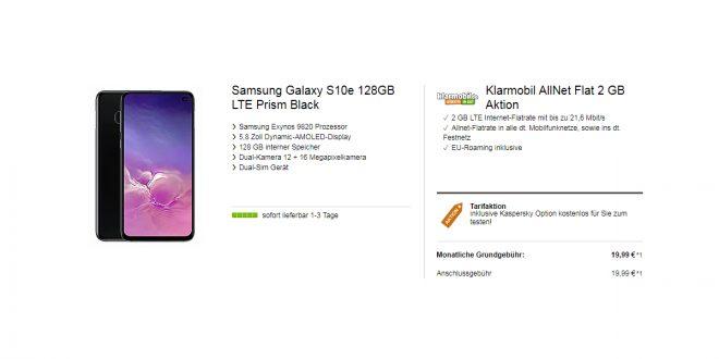 Galaxy S10e + 2 GB LTE nur 19,99€