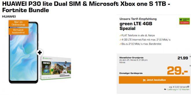 HUAWEI P30 lite + Xbox + 4GB LTE nur 21,99€