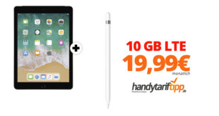 APPLE iPad 2018 & Apple Pencil mit 10 GB LTE Telekom nur 19,99€